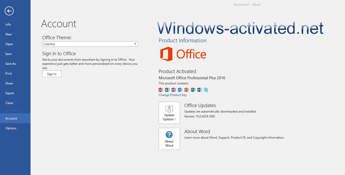 Microsoft Office 2016 Account